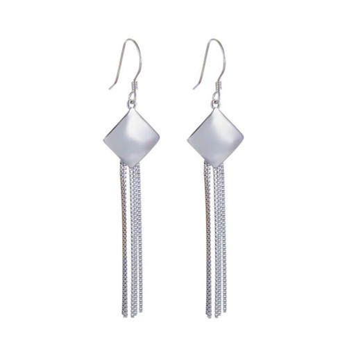 Rhodium plated long tassels drop earrings sterling silver stylish dangling tassels earrings wholesale