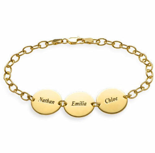 Personalised silver name disc bracelet customized with birthstone gold plated disco costume jewellery with 3 names women fashion jewelry wholesale online