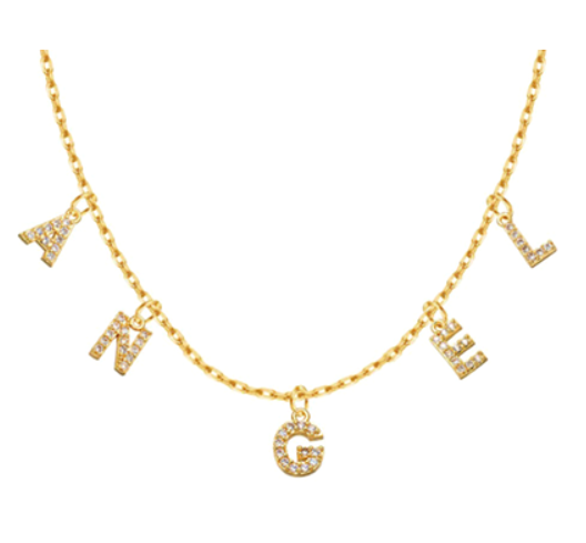 Custom-made initial choker necklace with zircon in 18K gold plated sterling silver