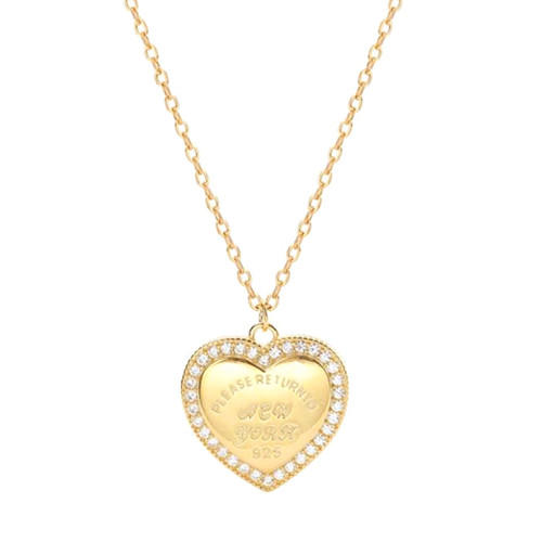 Engraving heart pendant necklace gold plated diamond jewelry small quantity accepted