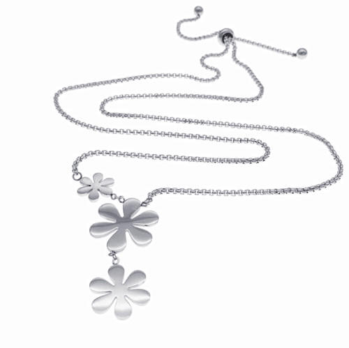 High end stainless steel jewellery silver flower pendant women necklace wholesale