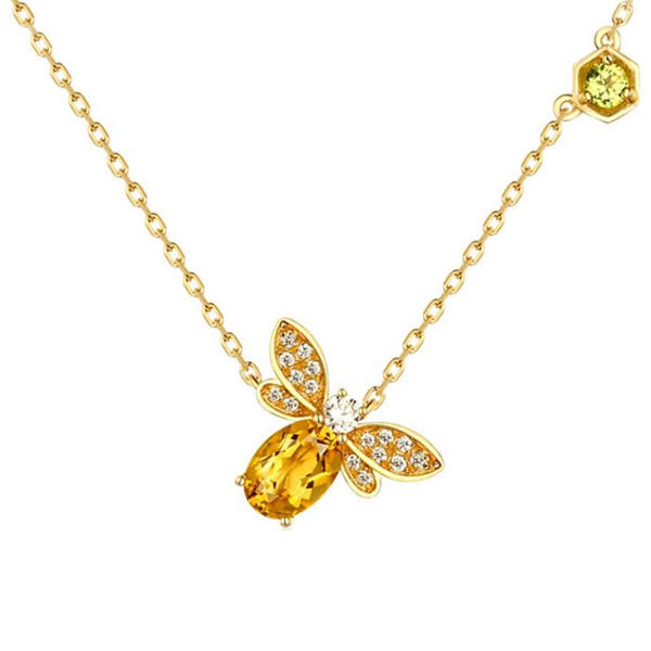 Natural citrine jewellery wholesale gold plated olivine pendant bee necklace in silver
