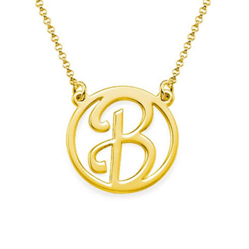 Custom initial nameplate personal jewelry 18k gold plating script initial nameplate necklace