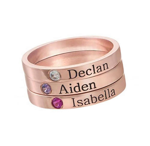 Personalized stackable rings silver chain with name birthstone custom jewellery in rose gold plating