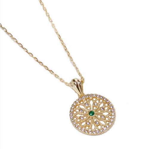 Vintage style hollow out round charm bracelet with diamond green zircon inlaid gold plated 925 sterling silver chain bracelets supplies wholesale china online