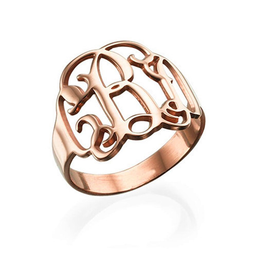 Personalized name ring with monogram initials any 3 initials letters name ring in rose gold plating
