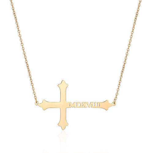 New design Men's jewelry gold cross pendant necklace silver Religious name cross charm necklace