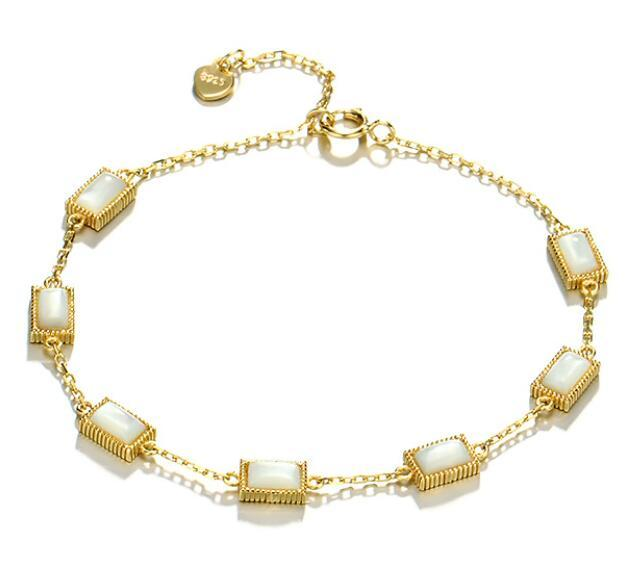 Square white shell charm bracelet gold plated 925 sterling silver chain jewelry