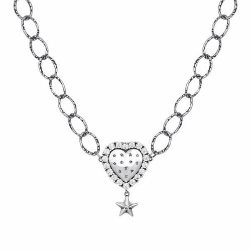 Antique chunk chain silver jewels heart pendant star choker necklace