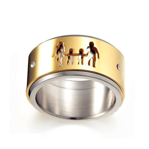 Family figure carved spinning jewelry turning double layers  spinner ring two-tone rotating rings