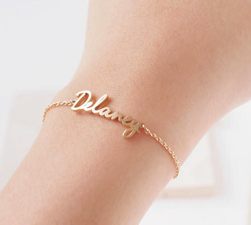 Rose gold name bracelet bridesmaid jewelry personalized keepsake name plate bracelets women jewelry wholesale china online