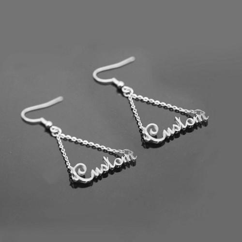 Silver dangling drop name triangle earrings triangle earring studs with names sterling silver