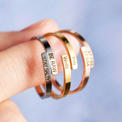 Personalised 2-row name ring coordinate stacking thumb band twist ring customized with any 2 names two bands statement rings
