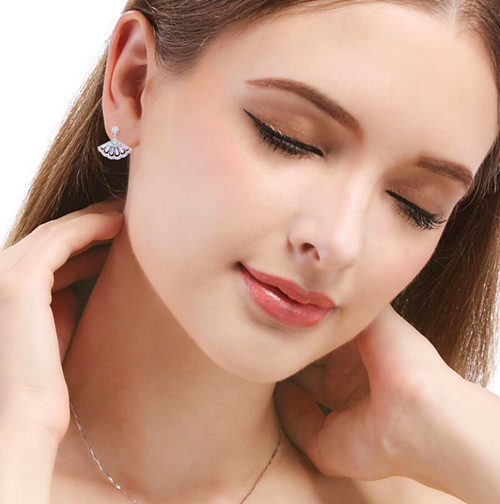 S925 silver CZ fan stud earrings for girls wholesale