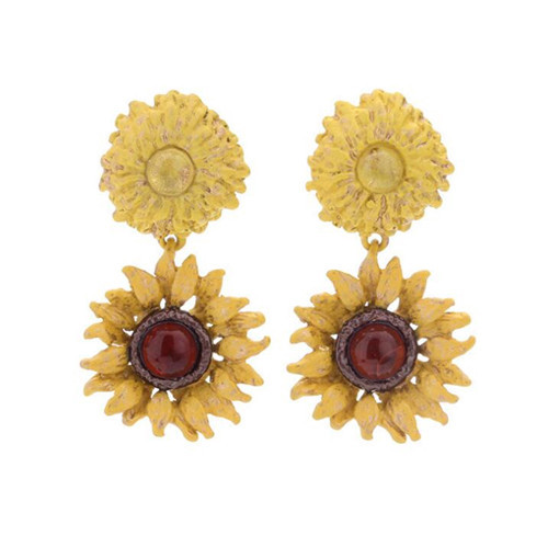 Delicate fashion women gemstone jewelry vintage sunflower drop earrings