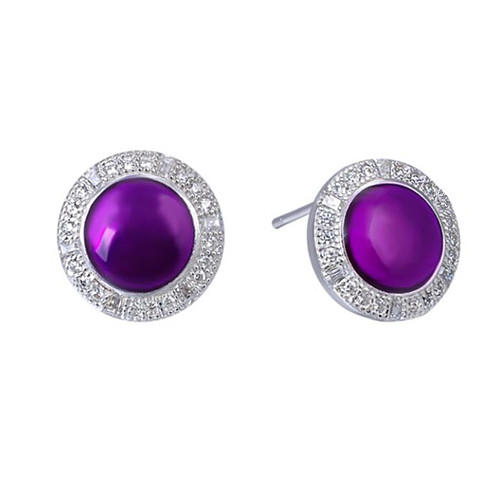 Platinum plated February birthstone amethyst diamond oval earrings sterling silver halo stud earrings