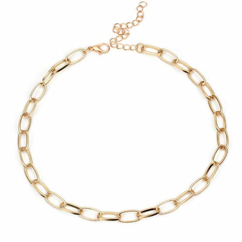 Gold plated sparkling metal button link chain choker necklace for women wholesale