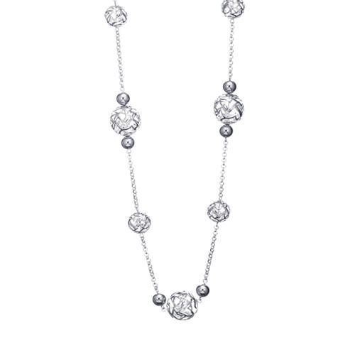 Sparkling silver hollow out balls and bead charm long chain necklace for women