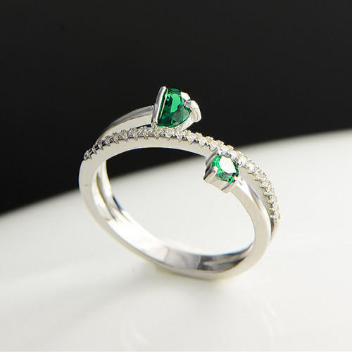 Open design twist double stone engagement ring with diamonds 925 sterling silver green quartz jewellery