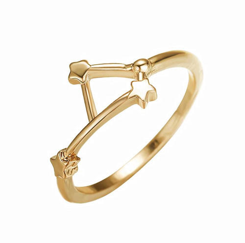Twelve constellations jewelry champaign gold color finger ring for women in sterling silver