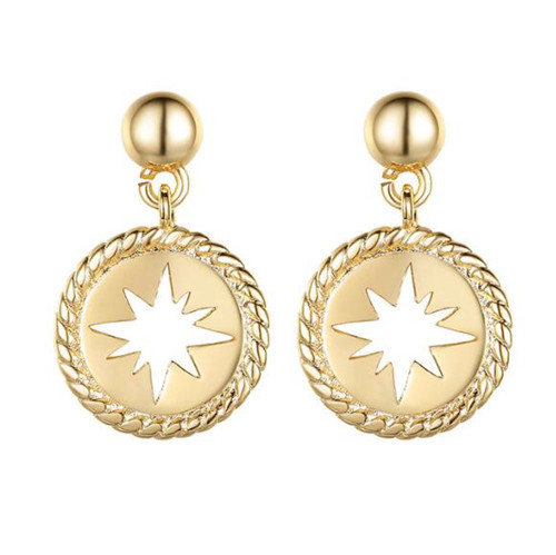 Delicate luxury jewelry wholesale 925 sterling silver round tag carved drop earrings