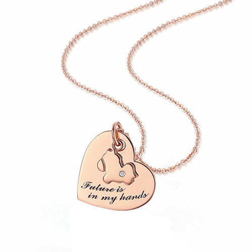 Puppy engraved pendant rose gold heart charm necklace handcraft pup jewelry dog gifts for pet lovers in 925 silver