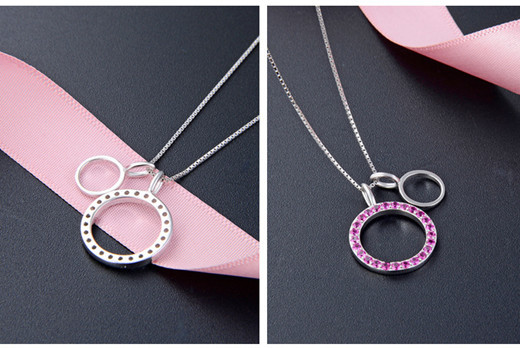 Ruby circle necklace sterling silver necklace with pendant necklace manufacturer exporter china