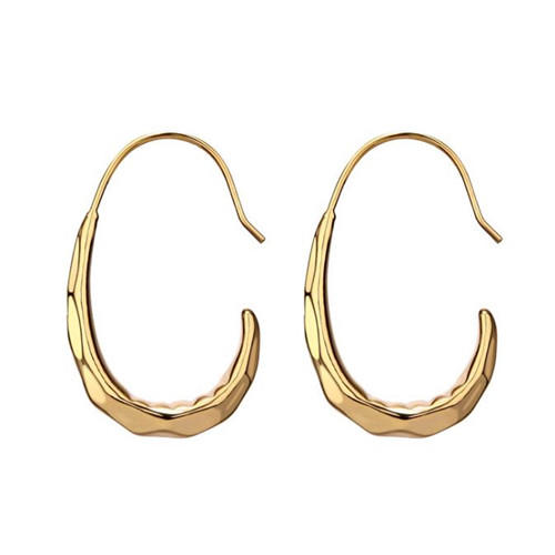 Big circle french style ear hook earrings in gold plating for women wholesale