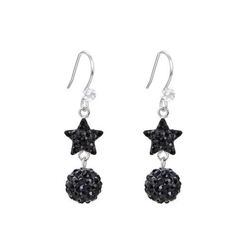 Crystal round disco ball and star earrings prom party dangle earrings for women in 925 sterling silver