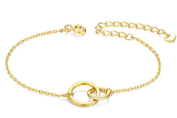 Gold plated interlocking circle charm cuff bangles in sterling silver wholesale