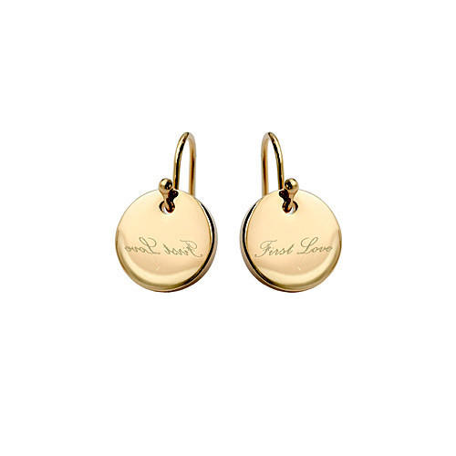 Personality gold disc drop earrings 14K gold filled circle earring custom made name engraving round disc earrings