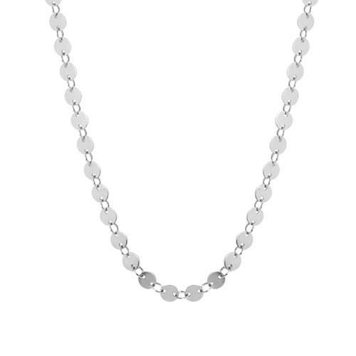 Vintage style tiny disc chain choker necklace in 925 silver for women