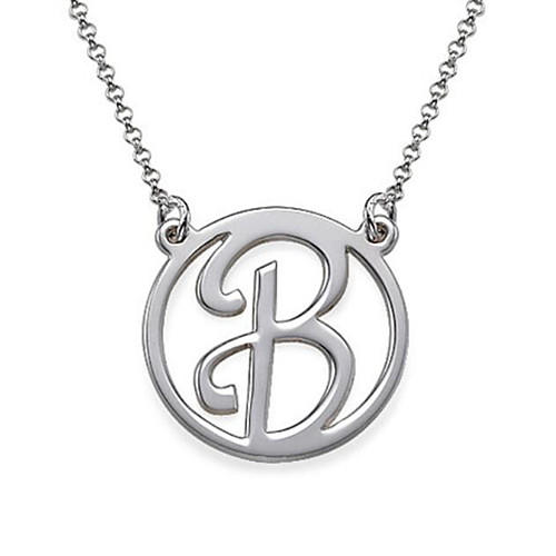 New fashion personalized initial jewelry sterling silver handmade circle pendant name necklaces gift for her