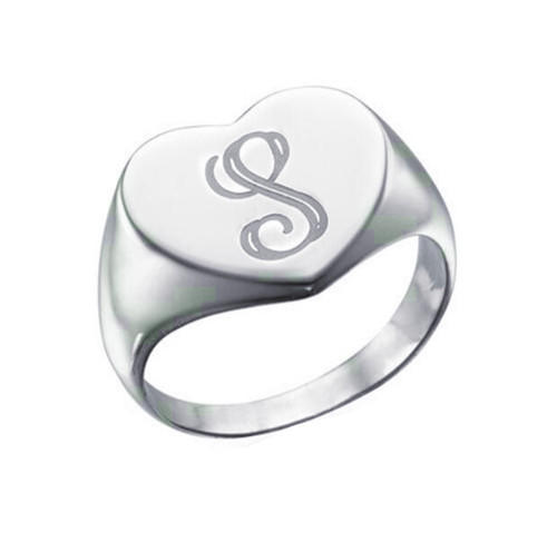 Heart shape sterling silver signet name rings for men mother's day photo jewelry
