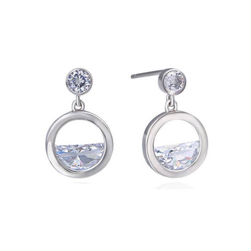 Women's fashion jewelry 925 sterling silver earrings hoops cubic zirconia CZ diamonds earrings