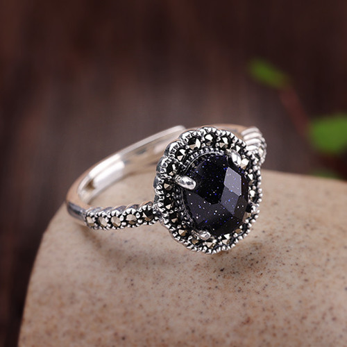 Womens big gemstone vintage jewellery handmade wholesale pure silver band faceted blue sandstone oval ring quality gemstone jewelry manufacturers supplier china