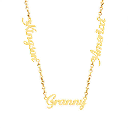 Sterling silver custom jewelry gold plated any name plate pendant three names chain necklace 3 name jewelry wholesale