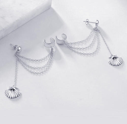 925 Sterling Silver Cuff Chain Earrings Wrap Tassel Earrings for Women
