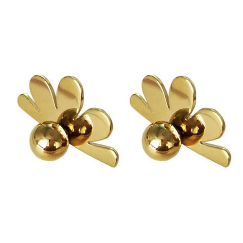 Personalized 18K gold plated bontique jewelry OEM fan shaped flower studs earrings