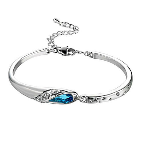 Austrian crystal bracelets wholesale 925 sterling silver adjustable bangle for women