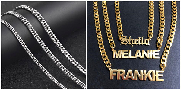 Gold plated mens chunky curb chain necklace wholesale bulk fashion stainless steel curb chains for jewelry