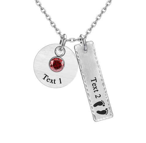 Sterling silver 925 jewelry female initial bar necklaces personalized with birthstone