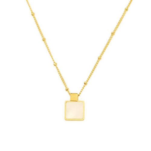 Antique square natural shell pendant gold color chain necklace