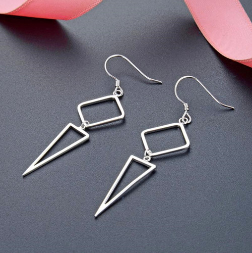 Silver triangle dangle earrings dangling long earrings wholesale online