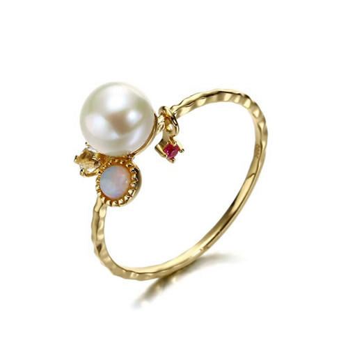 14k gold plated silver band ruby red corundum stone ring with white pearl natural topaz gemstone jewellery wholesale