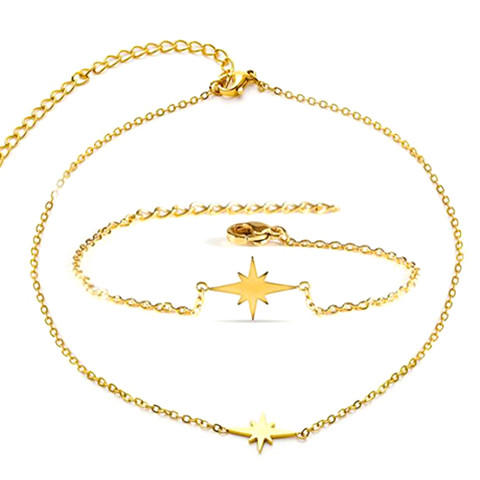 High quality titanium steel women jewelry 18K gold plated star charm choker necklace