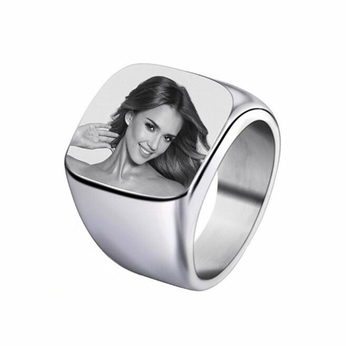 Mens fashion jewels wholesale customized picture printing band rings in silver