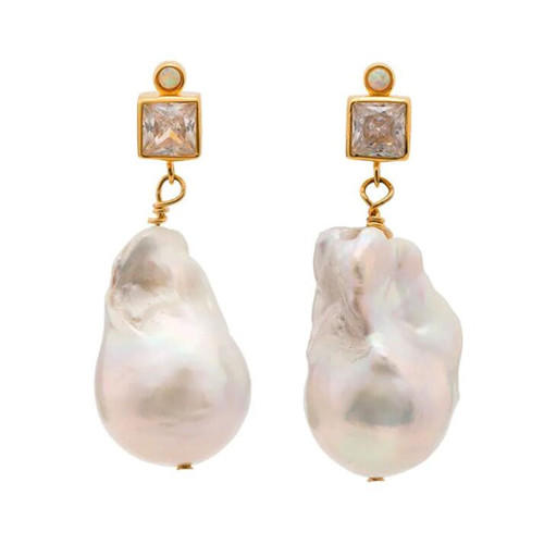 Natural baroque pearl earrings women gemstone fine jewellery wholesale