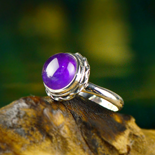 Large round women's sterling silver and amethyst engagement rings jewellery handmade 925 silver ring with purple amethyst stone