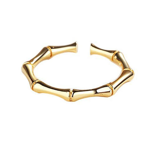 wholesale gold plated bamboo joint open design finger ring manufacturer geometrical shape 925 sterling silver rings supplier china